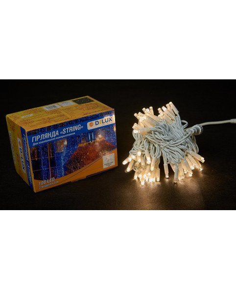 Светодиодная наружная гирлянда DELUX STRING 100LED 10m 20flash(белый провод,теплый белый цвет диода)