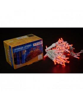 Светодиодная наружная гирлянда DELUX STRING 100LED 10m 20flash(белый провод,красный цвет диодов)