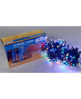 Светодиодная наружная гирлянда DELUX STRING 200LED 20m (черный провод,мультиколор цвет диода)