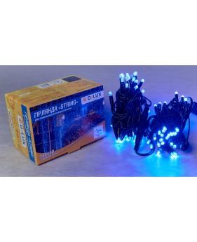 Светодиодная наружная гирлянда STRING 100LED 10m (черный провод,синий цвет диода)