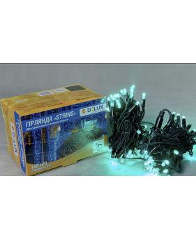 Светодиодная наружная гирлянда STRING 100LED 10m (черный провод,зеленый цвет диода)