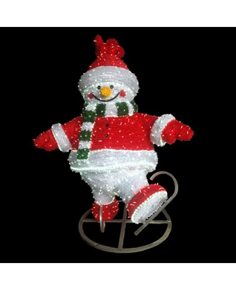 "3D фигура светодиодная ""Снеговик на коньках"", 1.23х1.9м"