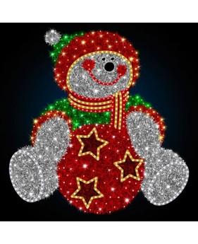 """3D фигура светодиодная """"Снеговик с игрушкой"""", 1.5х1.46м"""